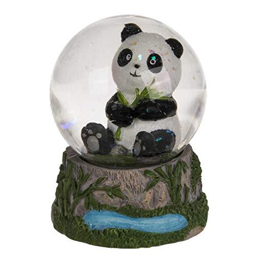 Schüttelkugel Sitzender Panda, zufällige Auswahl aus 4 ähnlichen Motiven, Maße (H x B): 6 x 5 cm, Material: Polyresin, Glas, Glitzerkugel/Schneekugel als hübsche Dekofigur für den Schreibtisch