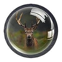 引き出しハンドルキャビネットノブ 4つの引き出しノブのラウンドパック,カメラを見ている鹿のクワガタ