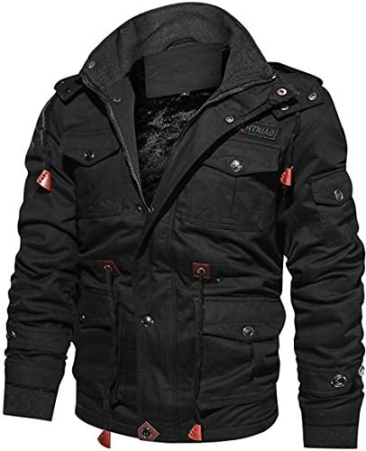 TACVASEN Herren Winterjacke Übergangsjacke Arbeit Fleecejacke Winddicht Bomberjacke Coat Innenfleece Baumwolle Jacke mit Taschen, Schwarz