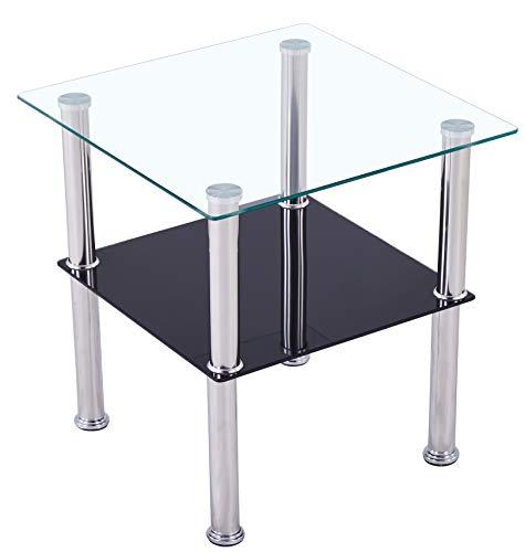 CasaXXl Couchtisch Glas mit Sicherheitsglas & Facettenschliff - Glastisch perfekt geeignet als Beistelltisch/Wohnzimmertisch 40x40x47cm (Eckig, Schwarz)