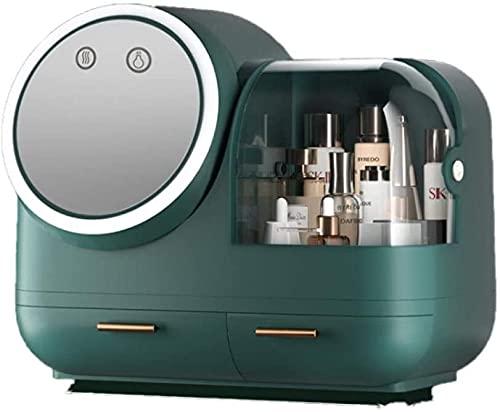 Monnstar Caja de maquillaje con luz LED y espejo de alta definición que se puede girar, secador de pelo USB, caja de maquillaje grande (1)