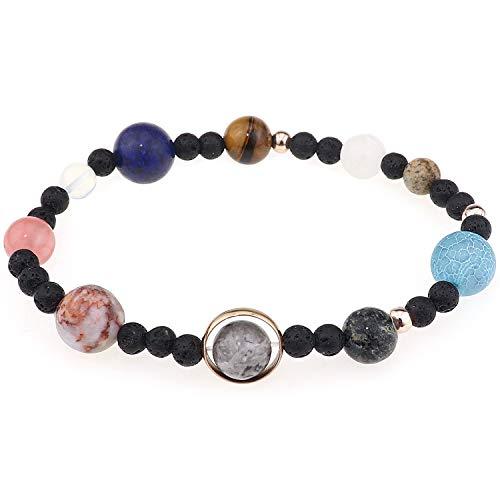 DTWAWA Cosmic Planet Armband Naturstein Achat Amber Lava Stones Elastizität Armband Valentinstag Muttertag Geschenk