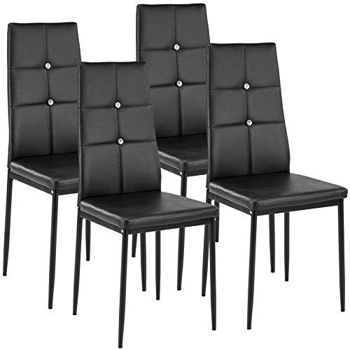 TecTake Lot de Chaise de Salle à Manger 40x42x97cm | - diverses Couleurs et modèles au Choix - (4X Noir | no. 402545)