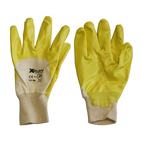 Xclou Universalhandschuhe in Gelb, wasserabweisende Baumwollhandschuhe mit Nitrilbeschichtung, Gartenhandschuhe in Größe 10 (XL)