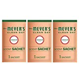 Mrs. Meyer's Clean Day Air Freshening Scent Sachets, Fragrance for lockers, cars, closets, Geranium Scent, 3 ct
