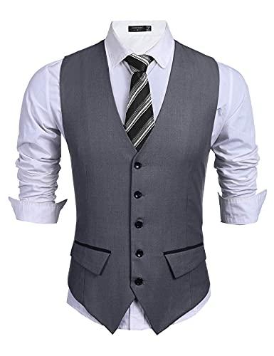 COOFANDY Men's Business Suit Vest Slim Fit Dress Vest Wedding Waistcoat (X-Large, 01-Dark Gray)