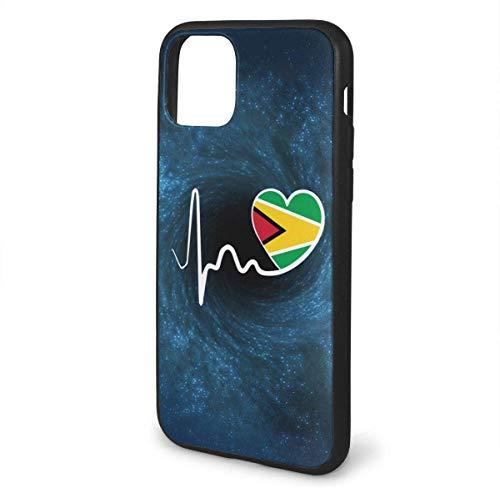 MISS-YAN - Carcasa para iPhone 11, diseño de bandera de Guyana Heartbeat-1