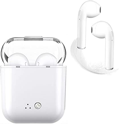 Bluetooth Headphones Wireless Earbuds Mini Earphones in-Ear Stereo Sound Noise Cancelling 2 Built-in Mic Earphones Charging Case Compatible iPhone iPad Most Android Smartphones (White) (White)