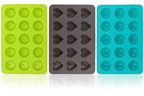 com-four® 3x Silikon Formen für Pralinen - runde und herzförmige Pralinenformen für je 15 Pralinen oder Eiswürfel - Schokoladenform (03 Stück - rund/Herz)