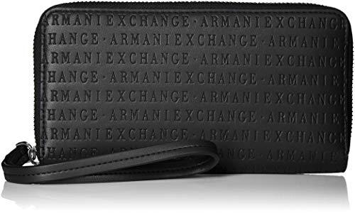 Armani Exchange - Fabric Round Zip, Carteras de mano con asa Mujer, Negro (Black), 10.5x2.5x19 cm (B x H T)