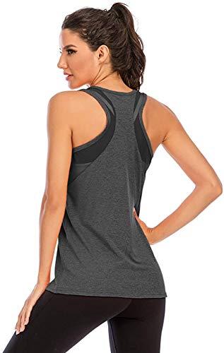 Nekosi Damen Yoga Tanktops Ärmelloses Sportshirt Kleidung Mesh Zurück Fitness Laufen Shirt Sport Oberteile Grau Groß