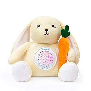 Baby Sleep Soother Sound Machine, APUNOL Rechargeable White Noise for Sleeping Baby with Night Light Projector, 18 Lullabies, Cry Sensor Newborn Gift Rabbit Stuffed Animal Toy for Girls and Boys