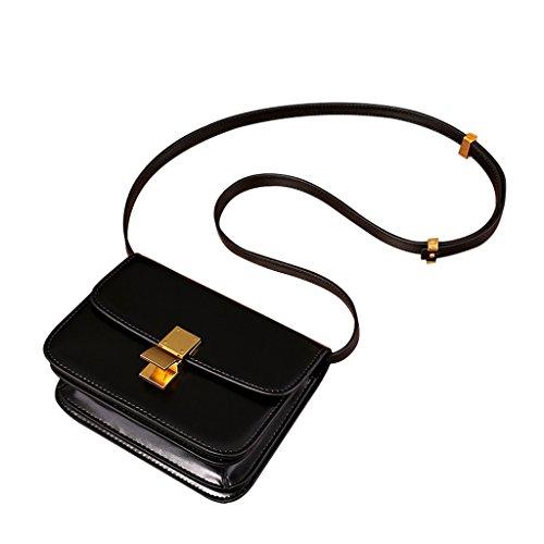 Fashion Women's Retro Box Rindsleder Eine Vielzahl von Farben Soft Finish Schultertaschen Messenger Bag (Farbe : Schwarz, größe : 23cm*18cm*8cm)