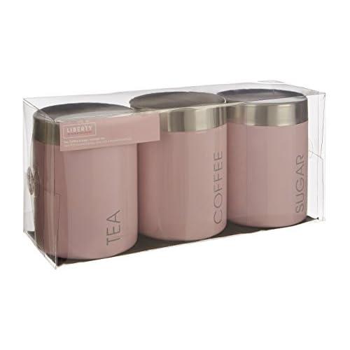 Premier Housewares Tea/Coffee/Sugar Canisters - Light Pink