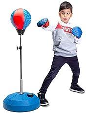 Saco de boxeo con soporte, para niños y adultos, altura ajustable, bolsa de boxeo independiente, ideal para entrenamiento de MMA, alivio del estrés y fitness