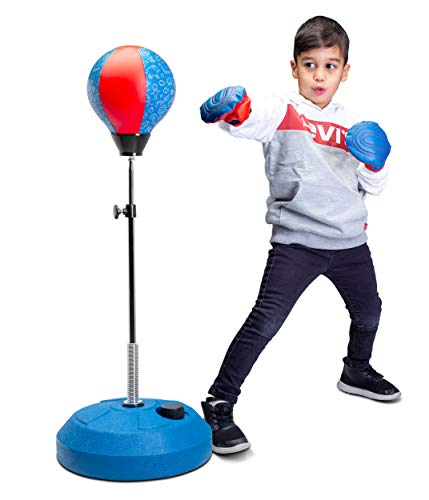Punching Bag Reflex Boxing Bag with Stand, Height Adjustable - Freestanding Punching Ball Speed Bag - Great for MMA Training, Stress Relief & Fitness (Kids)