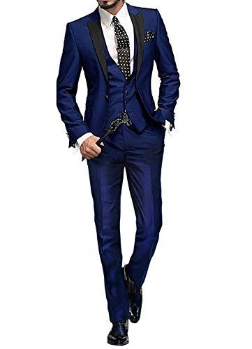 GEORGE BRIDE Herren Anzug 5-Teilig Anzug Sakko,Weste,Anzug Hose,Krawatte,Tasche Platz 002,Königsblau XXXXL