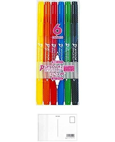 トンボ鉛筆 水性サインペン プレイカラー2 6色 GCB-611 【× 2 パック 】 + 画材屋ドットコム ポストカードA