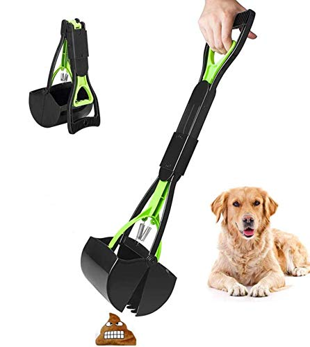"Pet Pooper Scooper for Large and Small Dogs Sanitary Poop Pick Up with Long 24"" Ergonomic Handle Bone-Shaped Waste Bag Dispenser Included Works On Multiple Surfaces Like Dirt, Gravel, and Grass"