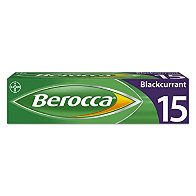 Berocca Energy Vitamin Tablets Blackcurrant Flavour, High Dose of Vitamin B Complex, Vitamin B12, Also Contains Vitamin C and Magnesium, 15 Tablets - 2 Weeks Supply