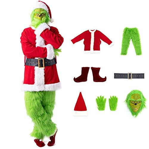 Axjzh Disfraz de Navidad para Hombre, máscara de Grinch, Disfraz de Navidad, Disfraz de Papá Noel, Disfraz de Papá Noel, 7 Unidades, para Adultos