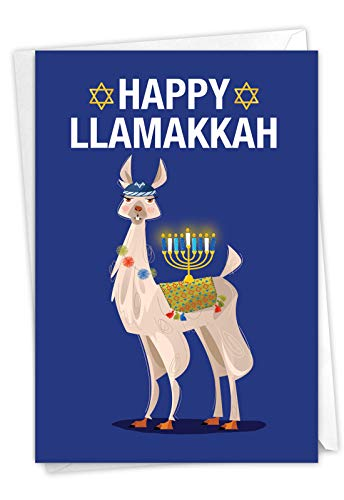 NobleWorks - Funny Hanukkah Greeting Card with Envelope - Religious Holiday Humor, Jewish Chanukkah Notecard - Llamakkah C7050HKG