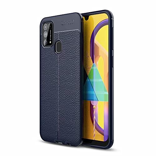 Funda para Samsung Galaxy M32 de piel sintética a prueba de golpes, con función atril, soporte magnético para tarjetas, funda protectora para Samsung Galaxy M32, color azul marino