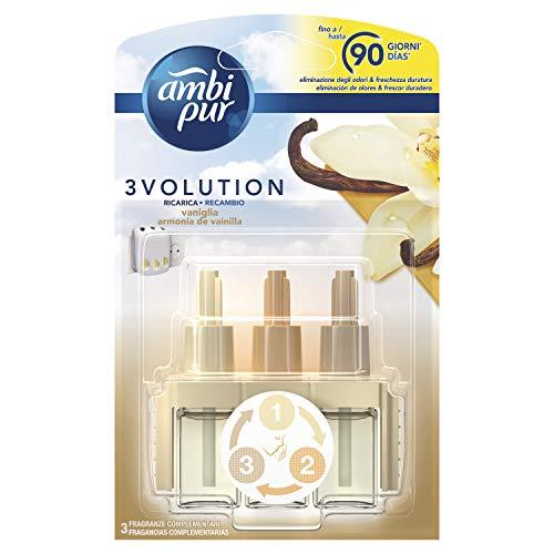 Ambi Pur 3Volution Armonía de Vainilla Recambio de Ambientador Eléctrico 21 ml, 3 Aromas Que se Alternan para Eliminar Olores