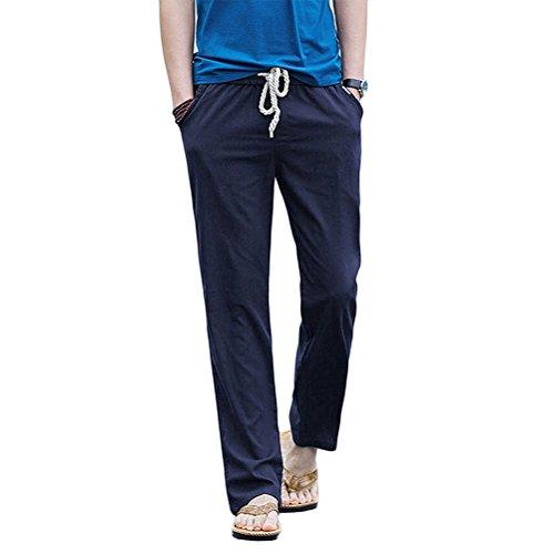 HomDSim Pantalones de lino para hombre, de verano, largos, informales, de playa, con goma elástica azul oscuro L