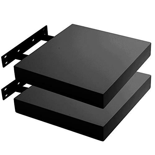 Lestarain LGA080-2 Juego de 2 Estante Flotantes Pared Madera Negro Estanteria Balda Libreria Repisas Invisibles Decorativo CD