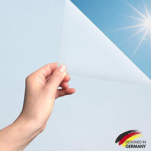 MARAPON® Fensterfolie selbsthaftend Blickdicht in weiß [45x200 cm] inkl. eBook mit Profitipps - Milchglasfolie mit sehr hohem Sichtschutz - Sichtschutzfolie statisch haftend für Bad & WC