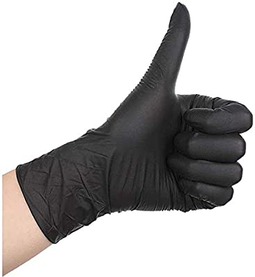 100 Pcs Disposable Gloves - Nitrile and Vinyl Blend - Latex and Powder Free - Thick Multipurpose Working Gloves (Black, L)