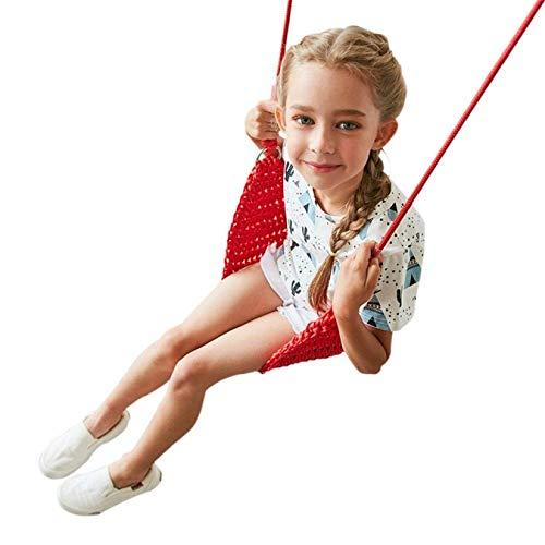 LKITYGF Heiter Kinder Swing Kinder Swing Swing Seat für Kinder mit einstellbaren Seilen Hand-Kitting Seil Swing Seat Toll für Baum Swing Chair Indoor Orange 20x55cm (Color : Red, Size : 20x55cm)