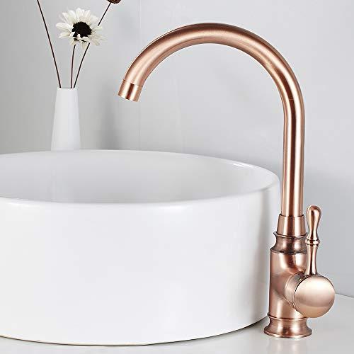 Grifo de baño retro elegante rosa oro mezclador de palanca de cocina cobre latón lavabo agua fría y caliente