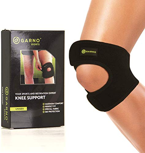 GARNO Knee Brace for Pain Relief - Osgood Schlatter, Meniscus Tear, MCL, ACL, Tendonitis, Best Patellar Tendon Support Strap for Sports, Running, Working Out; Men, Women, Teens, Kids (Small Size)
