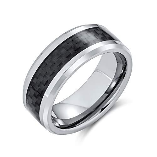 Bling Jewelry Patrón Geométrico Gris Negro De Fibra De Carbono De Tungsteno Banda Boda Parejas Anillos para Hombres Y para Mujer 8Mm