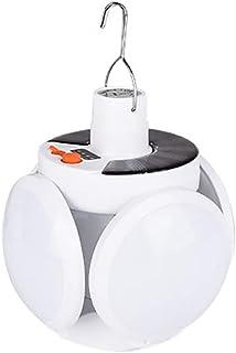 HITECHLIFE Bombilla de fútbol plegable solar, bombillas LED de fútbol plegable de 90 ° - Luces solares colgantes Bombilla plegable con indicador de energía - Bombilla solar recargable con gancho