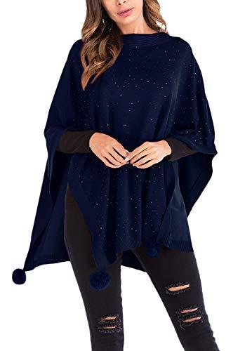 BIRAN Dzianinowe ponczo sweter z dzianiny sweter damskie swetry top wyjątkowy damski sweter zimowy sweter topy topy jesień zima damska elegancka wyprzedaż luźny nieregularny