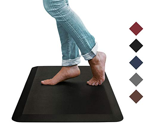 Oasis Kitchen Mats, Leather Grain Comfort Anti Fatigue Mat & Kitchen Rug, 5 Colors and 3 Sizes, Perfect for Kitchens and Standing Desks, 20x32x3/4-Inch, Black
