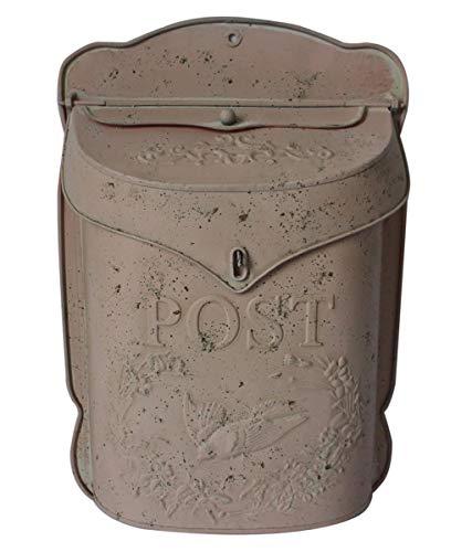 Retro-Briefkasten aus Metall, verwittert, Used-Look, zum Aufhängen, cremefarben