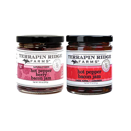 Terrapin Ridge Farms Hot Pepper Bacon Jam 11oz (311g) and Hot Pepper Berry Bacon Jam 10.5oz (297g) — Gluten-Free and Dairy Free Cheese Topper and Condiment Bundle