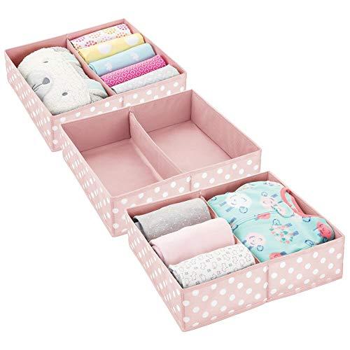 mDesign boîte de Rangement pour vêtements, Accessoires pour bébé (Lot de 3) – boîte en Tissu pour Chambre d'enfant – Module de Rangement avec 2 Compartiments – Rose et Blanc