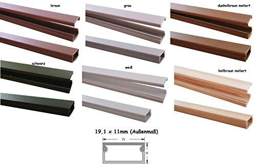 1m Kabelkanal 19,1x11mm (Außenmaß) versch. Farben selbstklebend (Verbinder verfügbar), Farbe:Schwarz