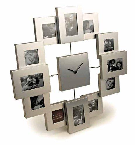 moderne Aluminium Wanduhr mit  12 Bilderrahmen, Freundschaftsuhr  von Out of the blue