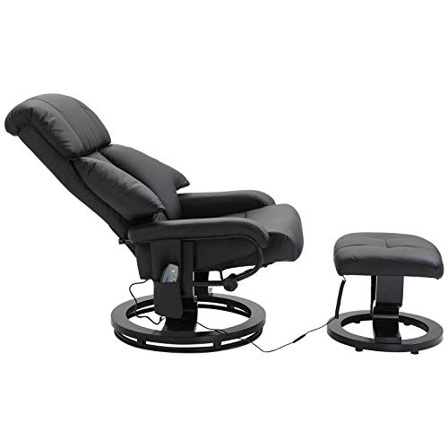 HOMCOM Chair Recliner Home Office Electric Massage Chair Sofa 10 Massager Heat with Foot Stool - Black
