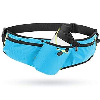 Odoland Running Belt Hydration Waist Pack with Water Bottle Holder for Men Women Waist Pouch Fanny Pack Bag Reflective Fits 6.5   Cellphone Lightblue