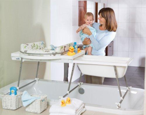 Geuther Combiné de bain Aqualino plan à langer coloris PVC papillon + support de baignoire coulissant avec baignoire incluse
