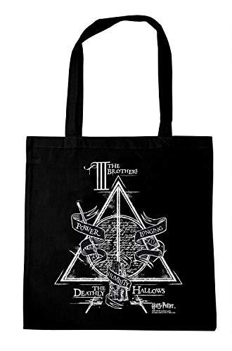 Logoshirt - Harry Potter - Die Drei Brüder - Baumwolltasche - Stofftasche mit Druck und langen Tragegriffen - schwarz - Lizenziertes Original Design