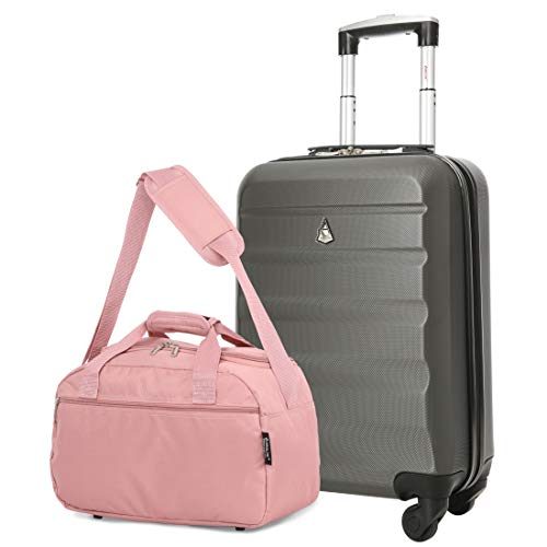 Aerolite 55x35x20cm Lightweight ABS Hard Shell Travel Carry On Cabin Hand Luggage Suitcase + 40x20x25 Ryanair Maximum Sized Holdall Cabin Bag (Charcoal + Rose Gold)