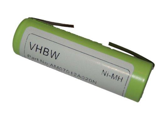 vhbw Ni-MH Batería 2000mAh (1.2V) para afeitadora Remington, Ermila, Wahl, Panasonic, Moser, Braun Silk Epil, Onys Aesculap, e.o por Remington 1.2V.